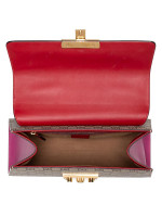 GUCCI GG Supreme Small Padlock Top Handle Bag Beige Red Purple