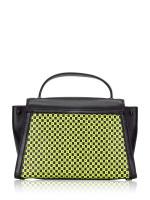 MICHAEL KORS Whitney Medium Checkerboard Top Handle Satchel Black Neon Yellow