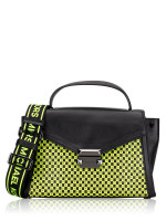 MICHAEL KORS Whitney Medium Checkerboard Top Handle Satchel Black Neon Yellow