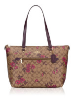 COACH 88876 Signature Victorian Floral Print Gallery Tote Khaki Berry