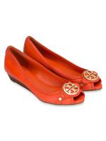 TORY BURCH Leticia Leather Open Toe Mid Wedge Orange Sz 7