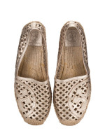 TORY BURCH Thatched Perforated Logo Espadrilles Gold Sz 8