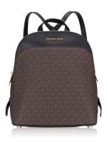 MICHAEL KORS Emmy Monogram Large Dome Backpack Brown Black