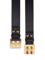 FENDI Studded Sliding Leather Belt Black