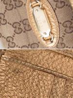GUCCI Canvas Small Wallet Beige Bronze