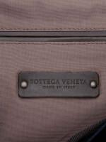 BOTTEGA VENETA Canvas and Intrecciato Nappa Backpack Tourmaline Espresso