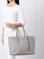 MICHAEL KORS Jet Set Medium Multifunction Zip Tote Pearl Grey