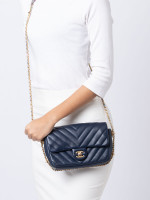CHANEL Chevron Quilted Mini Rectangular Flap Bag Navy