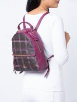 COACH 80051 Signature Shirting Plaid Jordyn Backpack Brown Fuchsia Multi
