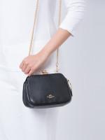 COACH 87822 Kisslock Leather Crossbody Black