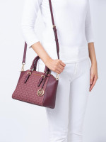 MICHAEL KORS Ciara Monogram Medium Messenger Oxblood