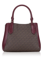 MICHAEL KORS Kimberly Signature Small Leather Satchel Merlot Multi