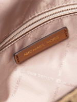 MICHAEL KORS Bedford Signature & Leather Medium Shoulder Flap Beige Ebony