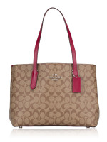 COACH 48735 Signature Avenue Carryall Khaki Dark Fuchsia