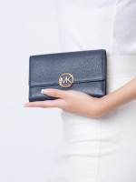 MICHAEL KORS Lillie Leather Large Carryall Wallet Admiral