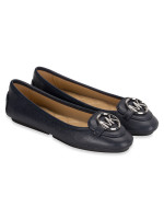 MICHAEL KORS Lillie Leather Flats Admiral Silver Sz 9