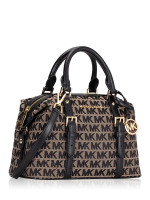 MICHAEL KORS Ginger Monogram Small Duffle Satchel Beige Black