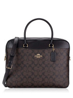 COACH 39023 Signature Laptop Bag Brown Black