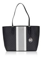 MICHAEL KORS Jet Set Monogram Stripe Medium Carryall Black Multi