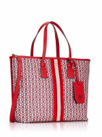 TORY BURCH Gemini Link Canvas Small Tote Liberty Red