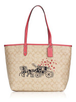 COACH 91011 Signature Horse Carriage Reversible City Tote Light Khaki Poppy