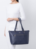 COACH 79608 Crossgrain Leather Gallery Tote Cadet