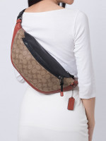 COACH 83029 Signature Colorblock Warren Belt Bag Tan Terracotta