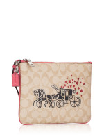 COACH 91543 Signature Horse Carriage Hearts Gallery Pouch Light Khaki Poppy