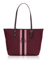 COACH 69645 Horse Carriage Jacquard City Tote Oxblood