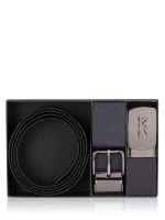 MICHAEL KORS Men 4 In 1 Leather Belt Box Set Black Brown