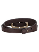 SALVATORE FERRAGAMO Gancini Leather Double Wrap Bracelet Dark Brown