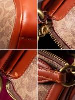 COACH 52577 Signature Sutton Colorblock Satchel Tan