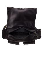 MICHAEL KORS Olivia Satin Studded Medium Flap Backpack Black