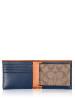 COACH Men 91626 Signature 3 In 1 Colorblock Wallet Tan Admiral Multi