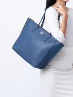 MCM Sophie Shopper Leather Tote Navy Blue