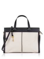 FOSSIL ZB7818227 Lauren Leather Satchel Black White