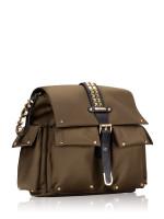 MICHAEL KORS Olivia Studded Medium Flap Backpack Olive