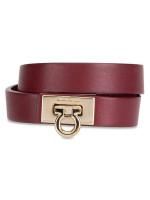 SALVATORE FERRAGAMO Gancini Lock Double Wrap Bracelet Maroon