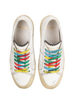 SAINT LAURENT Distressed Court Classic Surf Sneakers White Sz 39