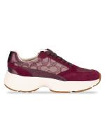 COACH C152 Signature Tech Runner Sneakers Wine Sz 7