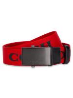 COACH Men 84746 Coach Plaque Web Buckle Belt Red