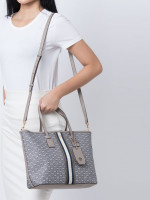 TORY BURCH Gemini Link Canvas Small Tote Gray Heron