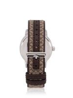 COACH 14503405 Grand Signature Strap Watch Brown Silver