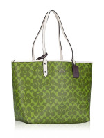 COACH 91380 Signature Colorblock Reversible City Tote Citron Multi