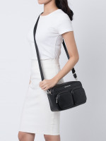 MICHAEL KORS Hanover Leather Large East West Crossbody Black