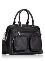 MICHAEL KORS Hanover Faux Leather Large Satchel Black