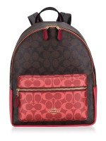 COACH 91074 Signature Blocked Medium Charlie Backpack Brown Multi