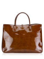 LONGCHAMP Roseau Large Patent Leather Tote Brown