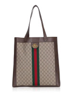 GUCCI GG Supreme Web Large Ophidia Tote Beige Brown