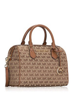 MICHAEL KORS Bedford Signature Large Duffle Bag Beige Ebony Luggage